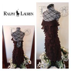 New Ralph Lauren Brown Ruffle Dress